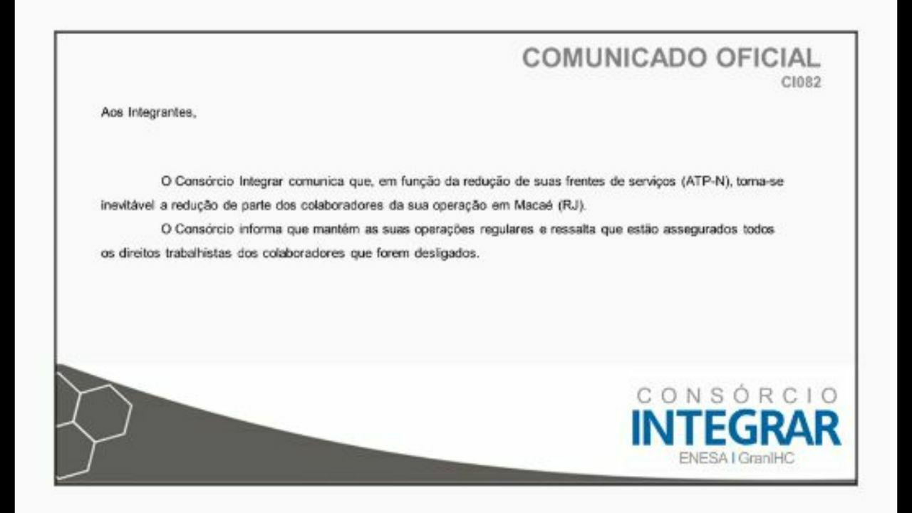 Consórcio Integrar Comunicado Oficial