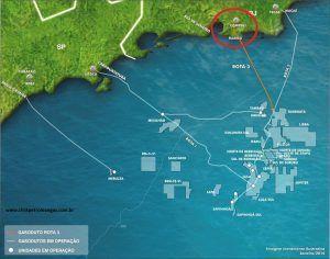 mapa campos de petróleo maricá