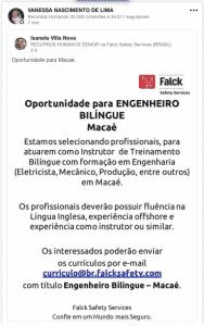 Oportunidade Engenheiro Bilíngue
