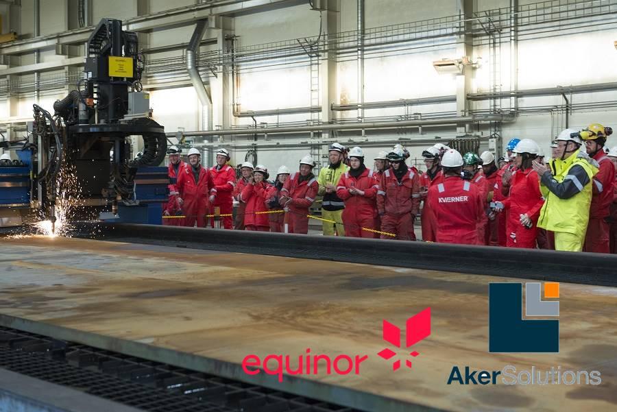 Aker Solutions e Kvaerner cortaram a primeira chapa de aço do projeto da Equinor no Mar do Norte