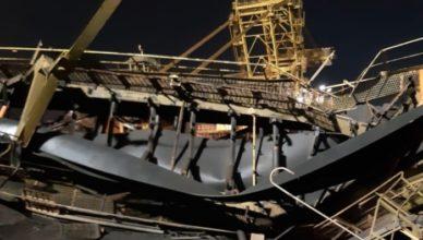 Estrutura da CSN desaba no Porto de Itaguaí