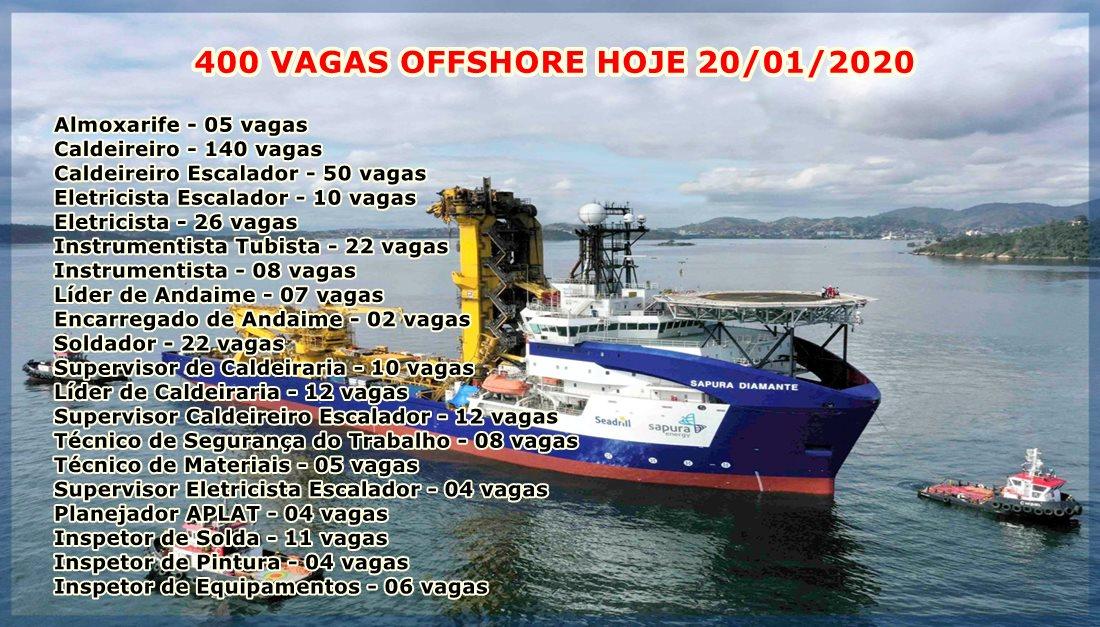 400 vagas de emprego para atender parada de manutenção offshore, anunciada às 16h de hoje, 20 de janeiro