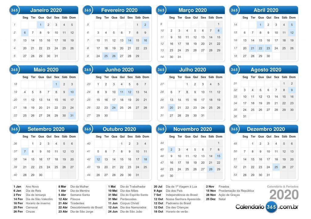 Calendário feriados 2020