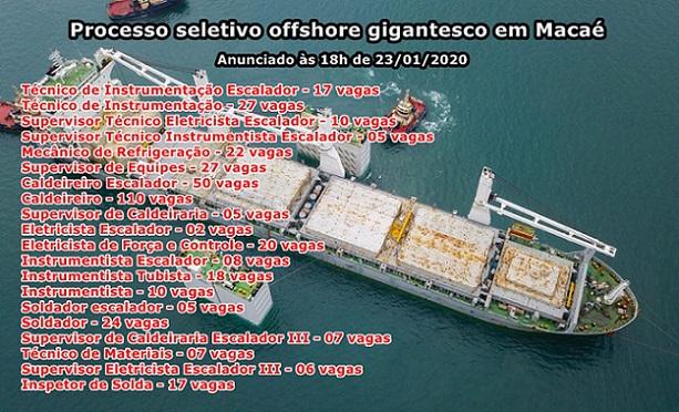Novo processo seletivo offshore gigantesco em Macaé com vagas de emprego atualizadas às 18h de hoje, 23 de janeiro97 vagas de emprego atualizadas às 18h de hoje, 23, para atender parada de manutenção offshore em Macaé