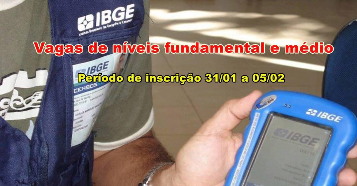 225 mil vagas de níveis fundamental e médio para o concurso 2020 IBGE