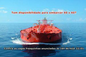 Vagas de emprego para trabalhar em navio tanque e petroleiro em escala de 60×60 no RJ