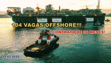 104 vagas de emprego para atividade offshore em Macaé; contrato de 36 meses!