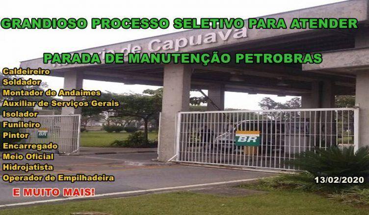 Cadastro de currículo para atender parada de manutenção em refinaria da Petrobras
