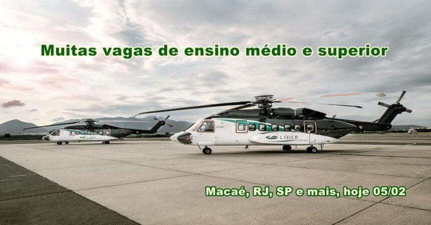 Novo processo seletivo da Líder Aviação demanda muitas vagas de emprego para o Rio de Janeiro, Macaé e demais regiões
