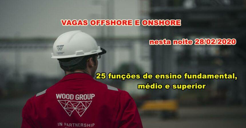 Novo projeto de óleo e gás da Wood com muitas vagas offshore e onshore, em quase todas as funções divulgadas neste dia 28