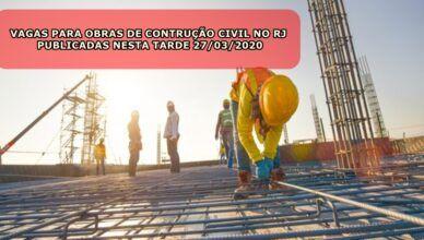 Pedreiro, ajudante, pintor e muito mais vagas de emprego para obras de construção civil no Rio de Janeiro