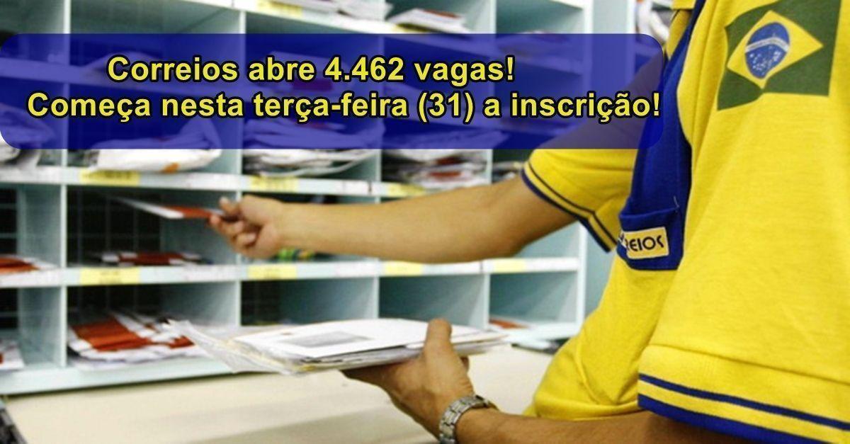 Processo seletivo aberto pelos Correios oferece 4.462 vagas para cadastro de cúrrículo Jovem Aprendiz