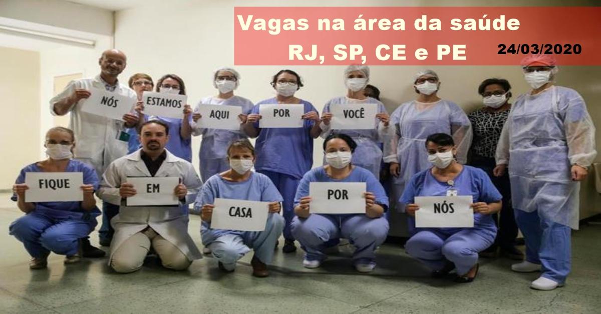 Vagas de emprego para Auxiliares, Técnicos e mais profissionais da saúde para contingência da pandemia do coronavírus