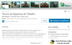 siac do brasil, emprego 30-03, técnico, segurança do trabalho, minas gerais