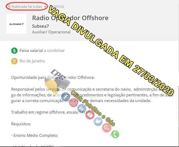 Multinacional Subsea7 iniciou processo seletivo para vagas offshore em escala 14 x 14 no Rio de Janeiro na última sexta-feira, 27