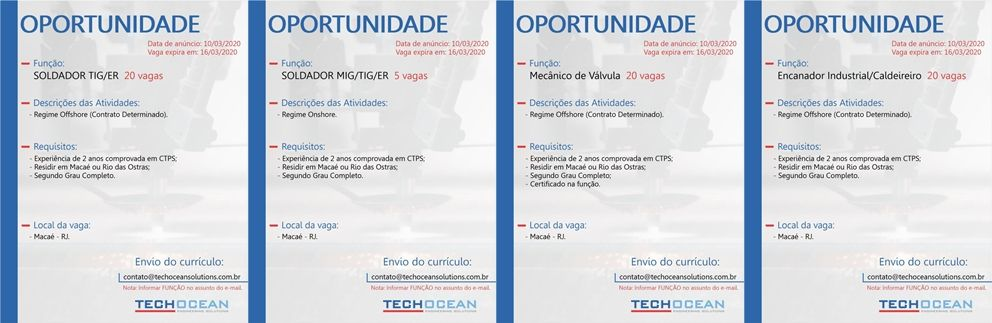 vagas offshore e onshore Techocean Macaé