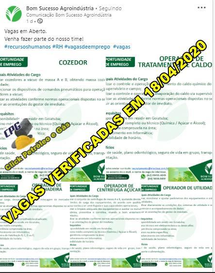 A semana encerra com vagas de emprego de ensino médio para trabalhar em Usina de Goiás