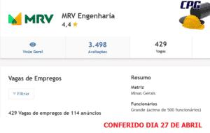 MRV engenharia 27 DE ABRIL, vagas de emprego, construção civil
