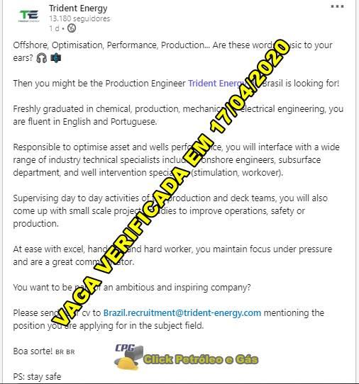 Vagas de emprego para profissionais sem experiência recém-formados em engenharia na multinacional Trident Energy