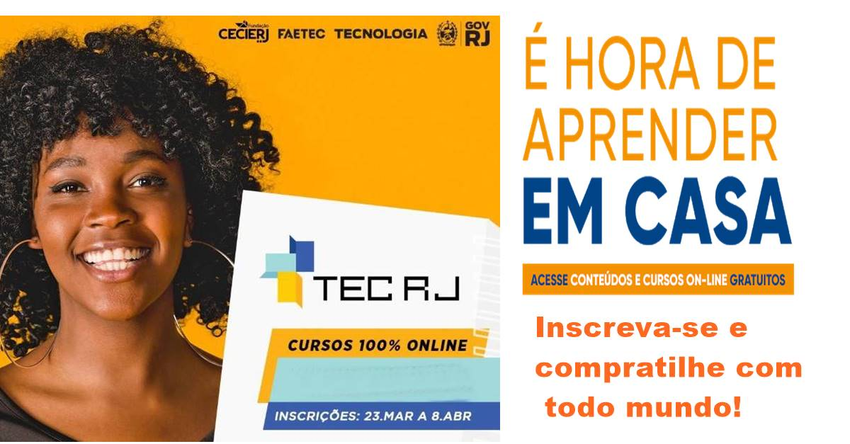Faetec e Cecierj abrem 600 vagas em cursos profissionalizantes online e gratuito