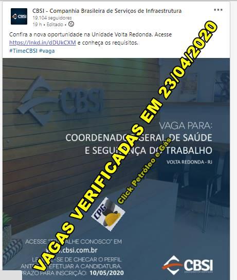 Processo seletivo aberto para profissionais de Segurança do Trabalho na Companhia Brasileira de Serviços de Infraestrutura