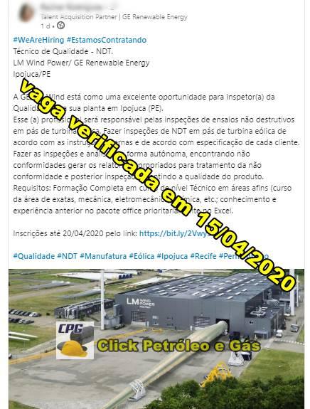 Processo seletivo em planta da GE Renewable Energy de Recife demanda vagas de ensino médio na área da qualidade