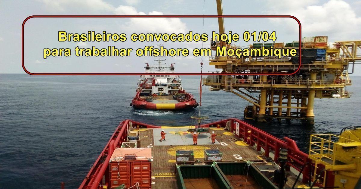 Contratos offshore em Moçambique demanda vagas de emprego para brasileiros nas áreas técnicas, solda, tubulação e mais