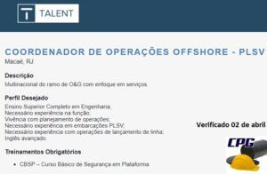 talent, vagas, offshore, macaé, rio de janeiro, PLSV