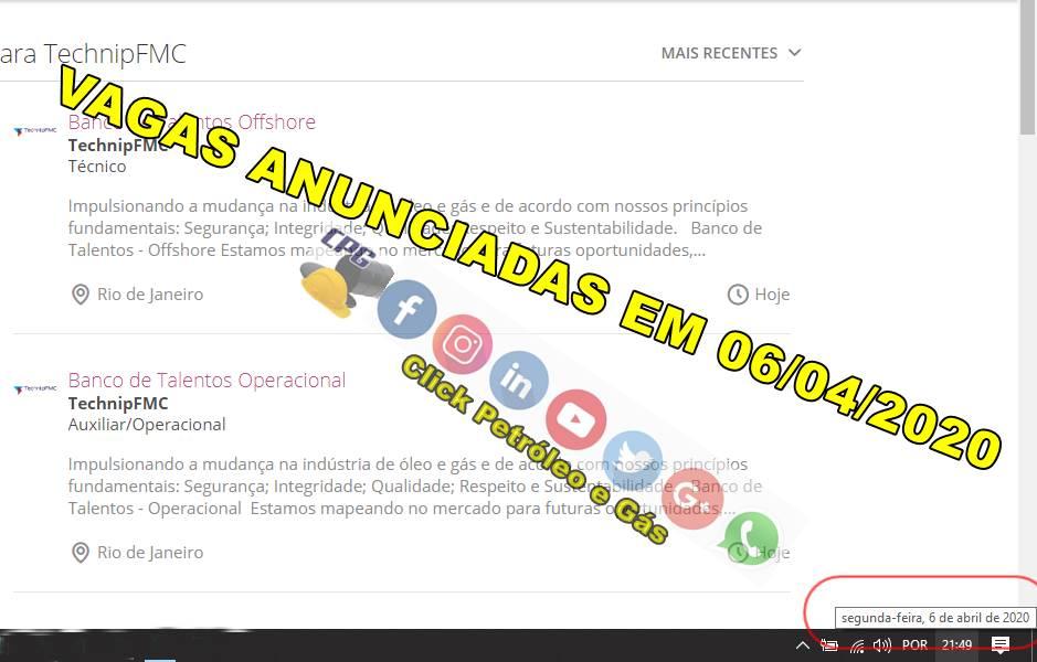 Em meio a pandemia, a TehcnipFMC inicia um grande cadastro de currículo offshore em Macaé, Porto do Açú e RJ