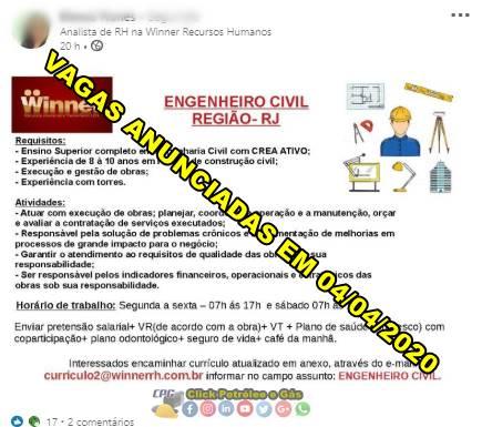 Obras de construção civil no Rio de Janeiro demanda vagas de ensino superior em Engenharia Civil neste sábado, 04 de abril