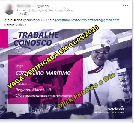 Processo seletivo offshore em Macaé na multinacional Sodexo para Cozinheiro Marítimo