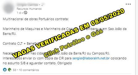 Multinacional contrata marítimos para embarque em Sao João da Barra, no RJ