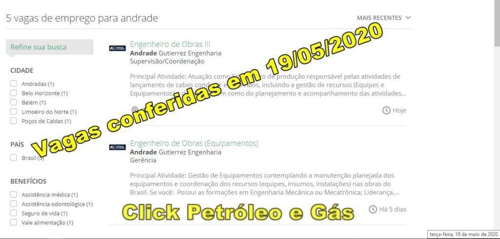 Processo seletivo em aberto para vagas de Engenharia na empresa de construção civil Andrade Gutierrez