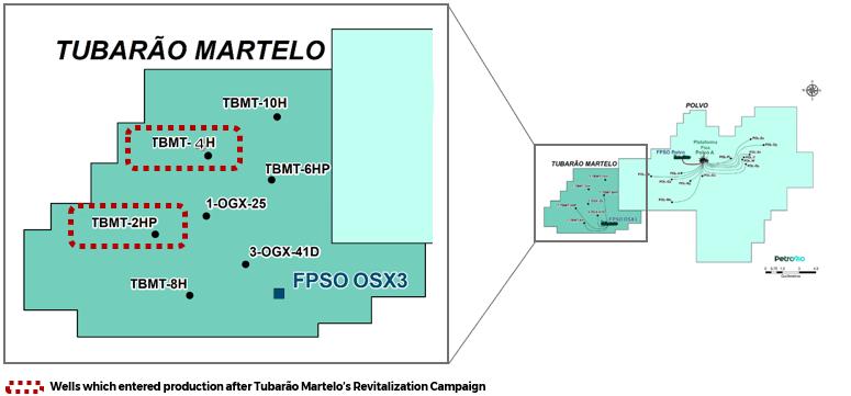 Mapa do Campo de Tubarão PetroRio FPSO