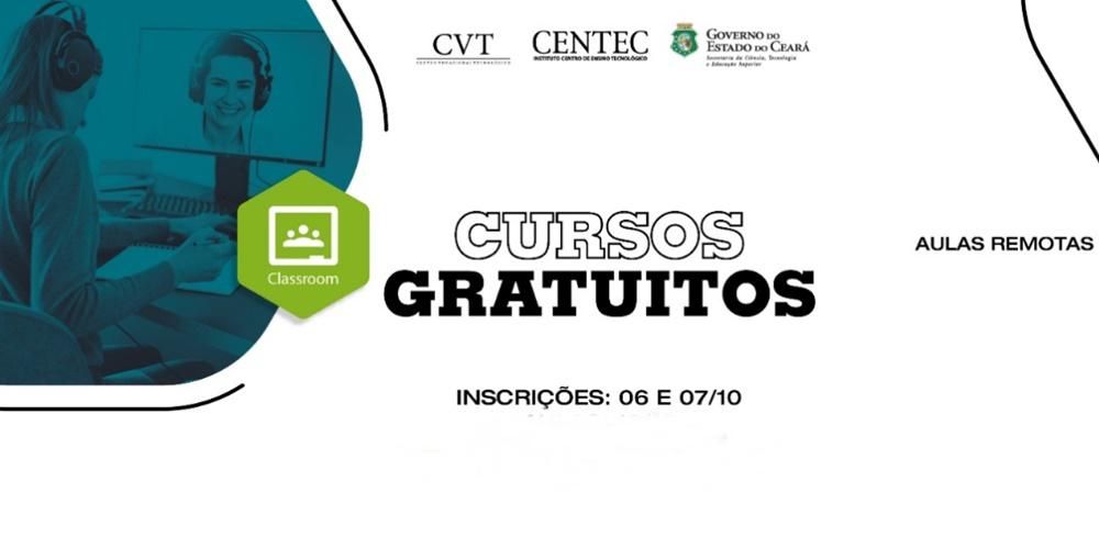 Abertas as incrições para 320 vagas em cursos gratuitos e totalmente online pelo Instituto Centro de Ensino Tecnológico (Centec)
