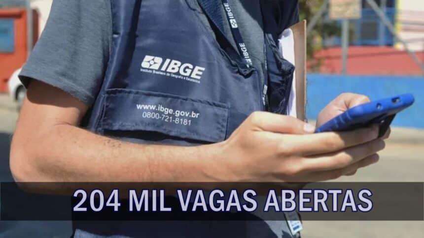 emprego - vagas - IBGE - ensino fundamental - agente - concurso
