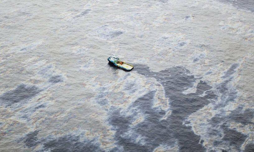 Mancha vazamento de óleo Bacia de Campos Trident Energy