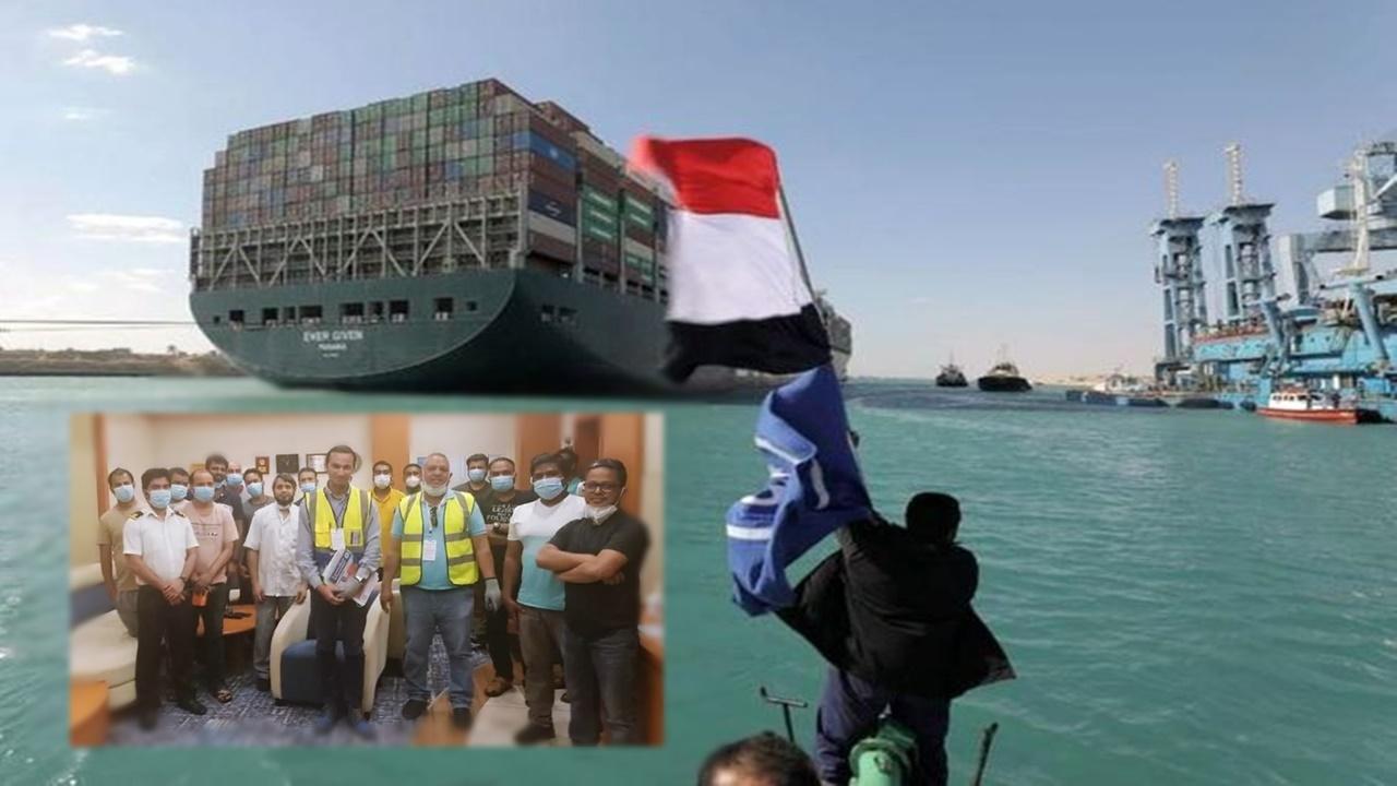 navio cargueiro - ever given - canal de suez - tripulação