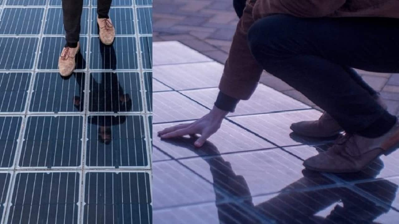 Energia solar - piso - eletricidade - rede elétrica