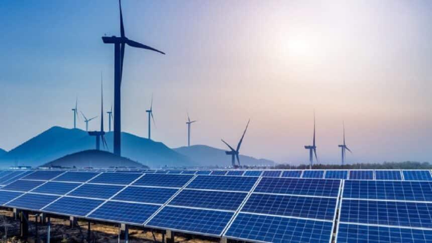 Energia renovável - usina - energia solar - energia eólica
