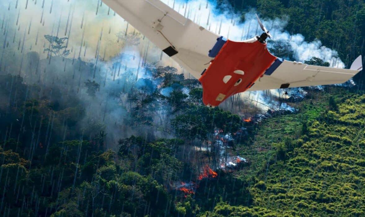 Drone que faz chover queimadas Amazônia incêndios florestais EUA